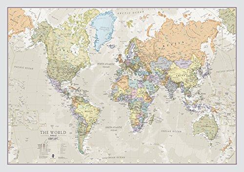 Carte du Monde Style Classic- Plastifiée - 84,1 (l) x 59,4 (h) cm