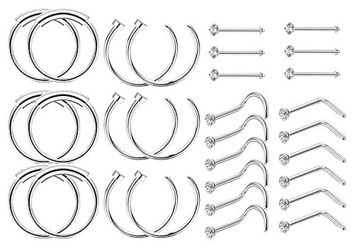 Finrezio 30 pezzi anelli per orecchini da naso in acciaio inossidabile 20g piercing per donna uomo 1.5mm set per piercing al naso cz argento