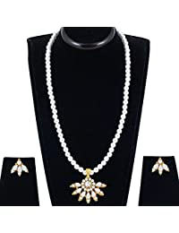 Spargz New Designer Mala Gold Plated Alloy Metal & Pearl Long Necklace Set For Women
