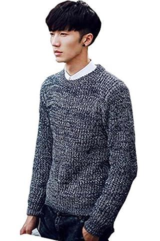 Minetom Mens Knit Crew Neck Sweatshirt Long Sleeve Sweater Jumper Top Pullover Clothing ( Black M )