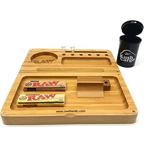 RAW Backflip Bamboo Rolling Tray + RAW Glass Tips + RAW Rolling Papers by RAW (Top Rolling Tray)
