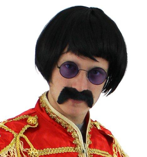 Seemeinthat 60er Jahre Rock Sergeant Set schwarz Kurze Perücke + farbige runde Brille + schwarzer Schnurrbart Celbriity Kostüm Zubehör Kit 60er Jahre Pop (Sgt Peppers Kostüm John Lennon)