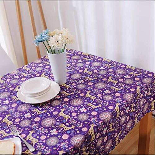 Kleine Baumwolle-feld (LFHDSUI Feld kleine frische Baumwolle Tischdecke Weihnachten Kitz lila Tee Tischdecke Tischdecke 140 x 250 cm)