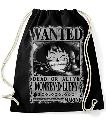 35mm - Mochila / Bolsa Monkey D Luffy Wanted- One Piece, Unisex, NEGRA
