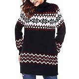 Modaworld Vestiti Mini Abito da Donna di Natale Christmas Sweater Women Casuale Elegante Fiocco Neve Merry Xmas Dress Vestito Partito Vestito Sera Vestiti