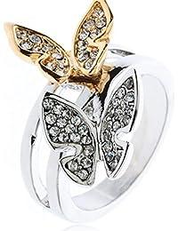 Anillo simple de la mariposa del diamante de dos colores