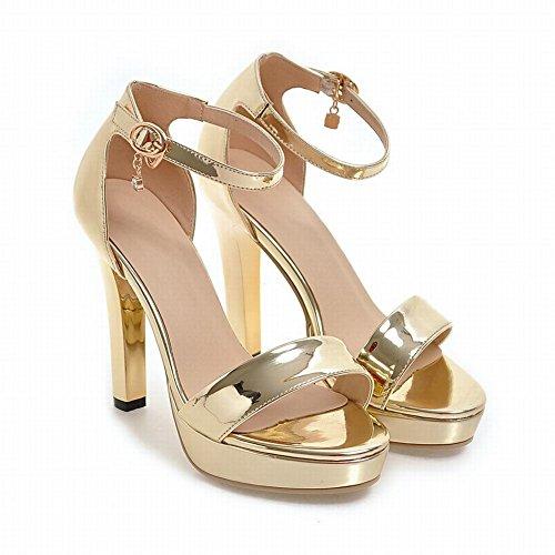 MissSaSa Donna Sandali col Tacco Alto Metallo Colore Oro