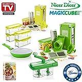 Genius Nicer Dicer Magic Cube Deluxe Set | 37 Teile | inkl. Nicer Twist & Cerafit Fusion Pfanne | Obst- und Gemüseschneider | Bekannt aus TV | NEU