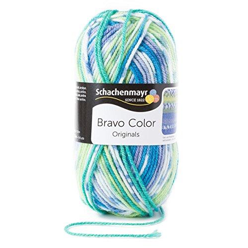 Schachenmayr  Bravo Color 9801421-02080 aqua color Handstrickgarn, Häkelgarn (Stricken Wolle Streifen)