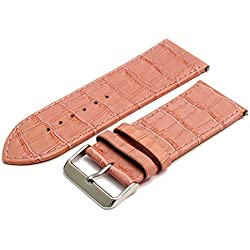 Leather Watch Strap Band Croc Grain X-Wide 28mm Pink With Chrome (Silver Colour) Buckle