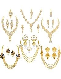 Sukkhi Glorious Pearl Gold Plated Kundan Peacock Meenkari Set of 6 Necklace Set Combo Jewellery for Women