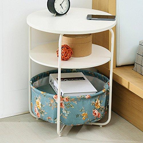 MEILING Moderne Simple Creative mobile Petite table basse simple Double ronde Fleurs bleues Mini salon canapé Côté quelques armoires Coin quelques Table d'appoint