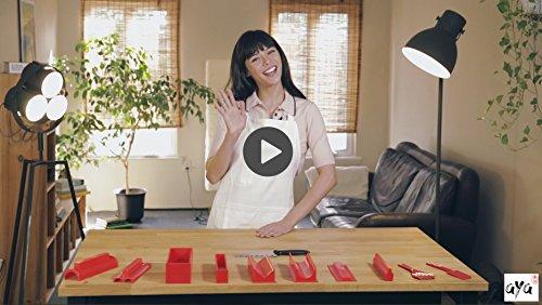 Maki rotoli Sushi kit facile e divertente per principianti Sushiaya da sushi Maker Deluxe rosso completo con coltello e esclusiva online video tutorial 11 Piece DIY sushi set sushi roll Maker