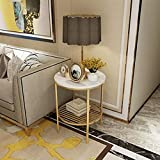 Mesitas de café, Mesa Lateral Redonda con Muebles de Exterior de mármol de Efecto Metal
