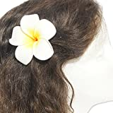 DreamLily Women's Fashion 3 Pcs Hawaiian White Plumeria Flower Foam Hair Clip Balaclavas for Beach