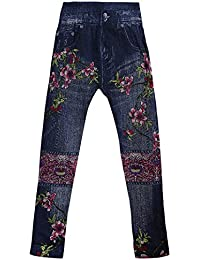 Camey Girls Printed Comfortable Denim Stretchable Jegging/Legging (9-12 Years).