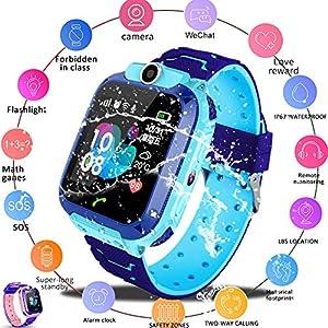 iYoung Localizador GPS Niños, Tarjeta SIM 2G con SOS Anti-Lost Alarm para Tarjeta Pantalla Táctil Smartwatch para Años De Edad Regalo De Cumpleaños Niños Niñas (Blue,Pink) 2