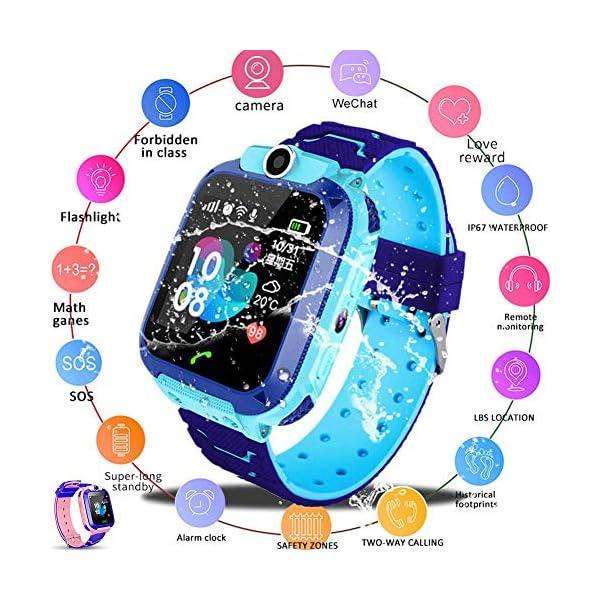 iYoung Localizador GPS Niños, Tarjeta SIM 2G con SOS Anti-Lost Alarm para Tarjeta Pantalla Táctil Smartwatch para Años De Edad Regalo De Cumpleaños Niños Niñas (Blue,Pink) 1