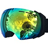 ZIONOR Professional Snowmobile Snowboard Skate Ski Goggles with Detachable Lens and Wide Angle Double Lens Anti-fog Big Spherical Unisex Adult Lagopus 3500