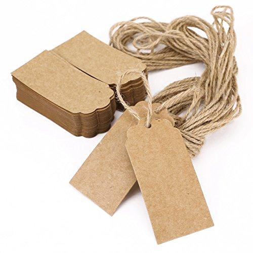 IIOOII - Etiqueta para regalo Joyería Etiqueta tarjeta con cuerda Gift Tags Kraft Paper 100pcs