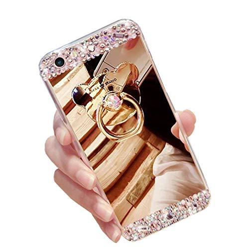 Preisvergleich Produktbild Homikon Spiegel Silikon Hülle Überzug TPU Tasche Bling Glänzend Glitzer Diamant Handyhülle Bär Ständer Ring Holder Make Up Mirror Case Schutzhülle Etui für Samsung Galaxy J2 Pro 2018 - Gold