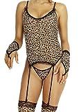 HO-Ersoka Damen Dessous Set aus Strapshemd, String, Armstulpen und Strümpfen im Leopard Look, Leopard, Einheitsgröße passend ca. XS-M