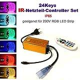 24 Keys Infrarot IP65 Netzteil Controller Set für 230V LED RGB Mehrfarbig Strip Streifen, mit 24 Keys Infrarot (IR) Fernbedienung, Keine Dimmfunktion, Farbsequenz Farbreihenfolge Nicht-programmierbar