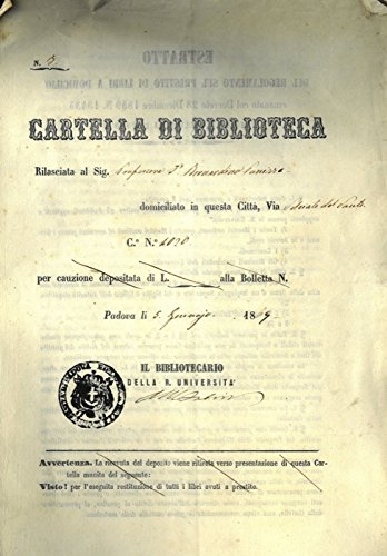 Cartella di Biblioteca rilasciata al Prof. Bernardino Panizza.