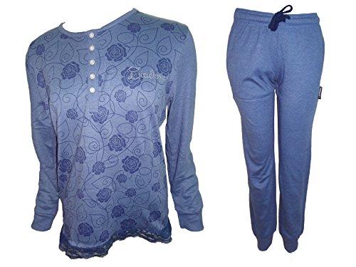 pigiama donna lungo caldo cotone interlock DIADORA nuova collezione art. 62735 Azzurro