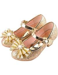 YOGLY Niñas Zapatos de Tacon Disfraz de Princesa Niña Zapatos Brillante