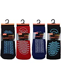 4 Pairs Mens Non Skid Slip Slipper Socks Thermal Thick Fleece