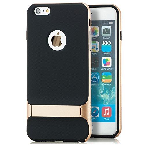 Original Rock Apple iPhone 6 Plus / 6S Plus Hülle Silikon Case Premium Schutzhülle Back Cover (mit Standfuß) Gold