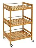 Orolay Estantería de cocina carrito de cocina estantería de baño de bambú con ruedas