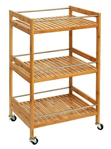 55af8b7133e7 Orolay Carrello per Il Bagno mensole da Bagno in bambù Impermeabile 3  Ripiani