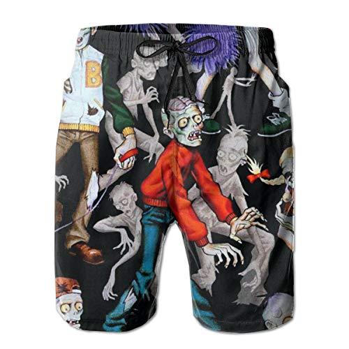 Bañador de Secado rápido Zombie para Hombre con Bolsillos Cintura elástica Larga Pantalones Cortos...
