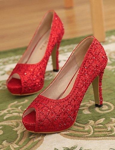 ShangYi Damenschuhe - High Heels - Hochzeit / Kleid / Party & Festivität - Kunststoff - Stöckelabsatz -Absätze / Zehenfrei / Plateau / Komfort / 4in