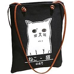 AiSi Mädchen japanische Canvas Tasche/Segeltuch Handtasche/Damenhandtasche/ Schultertasche/Henkeltasche/ Einkaufstasche/Strandtasche Katze Muster cat Schwarz Weiß