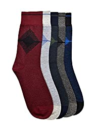 Vinenzia Premium Cotton full length stripped mens Socks Pack of 5