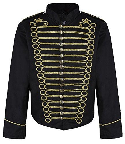Ro Rox Herren Steampunk Napoleon Offizier Parade Jacke - Schwarz & Gold (Herren XXL) (Militärischen Für Jacken Winter Männer)