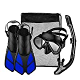 Mpow Snorkel Set with Tempered Glass Diving Mask, Dry Snorkel and a Pair