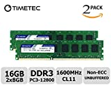 Timetec Hynix IC 16GB Kit (2x8GB) DDR3L 1600MHz PC3-12800 Unbuffered Non-ECC 1.35V CL11 2Rx8 Dual Rank 240 Pin UDIMM Des
