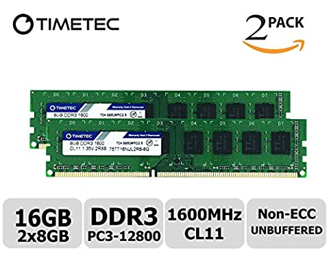Timetec Hynix IC 16GB Kit (2x8GB) DDR3 1600MHz PC3-12800 Unbuffered Non-ECC 1.35V/1.5V CL11 2Rx8 Dual Rank 240 Pin UDIMM Desktop Memory Ram Module Upgrade (16GB Kit (2x8GB))