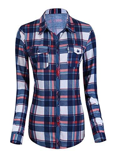 Damen Karierte Blusen Langarmhemd Karierte Bluse Plaid Shirt (L, #1)