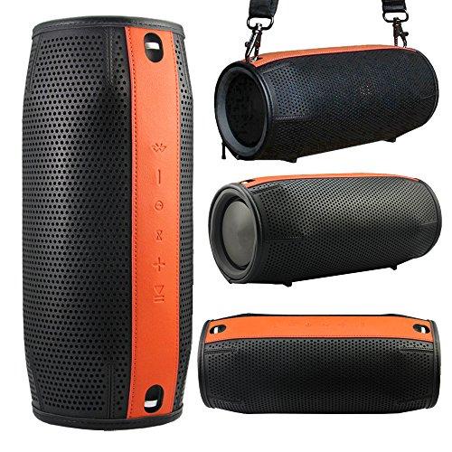 Pushingbest Étui de Protection Premium PU Couverture Manchon de Protection Skins pour JBL Xtreme- Noir+Orange