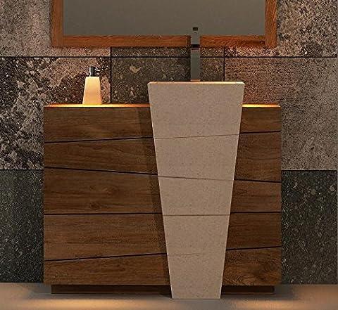 Walk - CA-468-100-NAT - Meuble de salle de bain rhodes vasque blanche l100 en teck