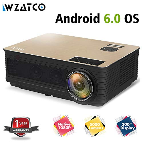 WZATCO M5 Native 1080P 5000 Lumens Android 6.0 Bluetooth 5G WiFi LED Home Cinema Projector