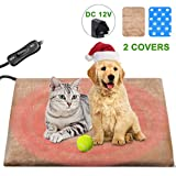 Upgraded Pet Heated Pad, Electric Cat Heating Pad Warming Mat for Dogs and Cats, Waterproof Anti Chew Heating Pad Pet Blanket Mat, Safe Pet Bed With Anti Bite Tube & 2 Covers(50x35cm)
