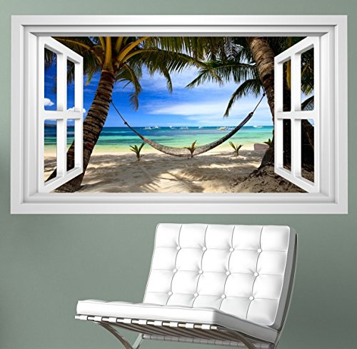 Meer Fenster (3D Wandmotiv Meer Strand Palmen Hängematte Fenster Wandbild selbstklebend Wandtattoo Wohnzimmer Wand Aufkleber 11E375, Wandbild Größe E:ca. 168cmx98cm)