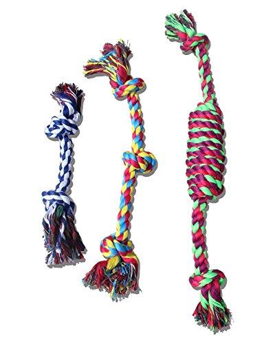 Hundespielzeug Baumwollknoten, Kauspielzeug Selie,Geeignet für alle Hunderassen,3-er Set(Gruppe1)