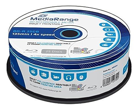 MediaRange MR504 - BD-R Blu-ray Disc 25GB 4x Speed, bedruckbar, 25 Stück (Bd-r Rohlinge)